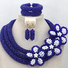 Elegant Blue & White Braided African Beads Necklace Earring Bracelet Jewelry Set