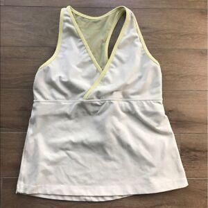 Lululemon Women's Size 6 Polka Dots Yellow Athletic Racerback Tank Top Shirt