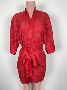 Vintage Fredericks of Hollywood Sheer Lace Red Long Robe With Belt Size Medium.