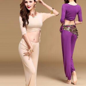 Long Pants Belly Dance Costume Cotton Dance Wear Yoga Practice Top+Trousers