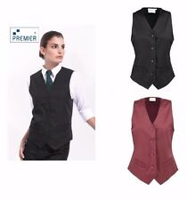 Premier Womens Waistcoat. Navy Polycotton 4 Buttons 2 Watch Pockets XXL Burgundy