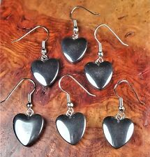 Hematite Heart Earrings Iron Stone Silver Hook LR66A Healing Crystals And Stones