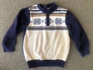 Gymboree Sweater Boy Winter Fair Isle Nordic Blue White 4T 4 Snowflakes zip Xmas