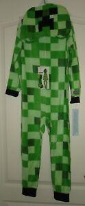 NWT MINECRAFT hoodie fleece blanket sleeper costume pajamas SIZE Small 6
