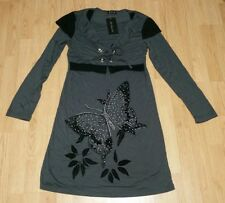 BNWT Gorgous grey black gem butterfly detailed long sleeve dress size 12 14