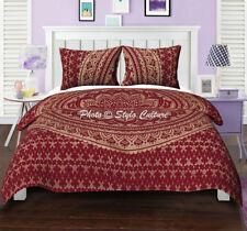 Indian Maroon Gold Ombre Mandala Quilt Doubl Duvet Cover Reversible Bedding Set