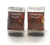 Vintage Sterling Silver Earrings 925 Modernist Studs Baltic Amber