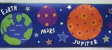 "SOLAR SYSTEM SPACE PLANETS STARS Wallpaper Border 9"""