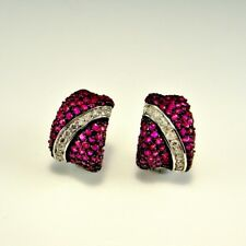 BLING Pave Ruby VS G Diamond 14K White Gold Black Rhodium Earrings Luxury 585