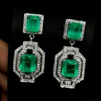 2.10 CT Green Emerald Diamond 2 Stone Art Deco Earrings 14K White Gold FN 925 SS