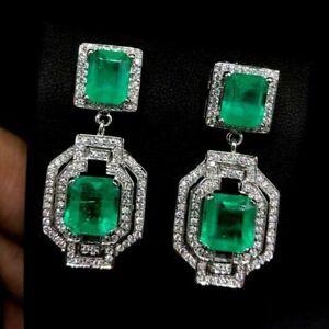 2.10 CT Green Emerald Diamond 2 Stone Art Deco Earrings 14K White Gold FN 925 SS