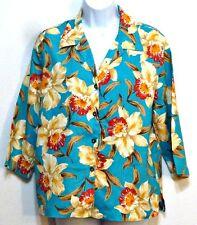 Jones New York Sport Ladies Aqua Orchid Button Front Linen Shirt - Sz Small