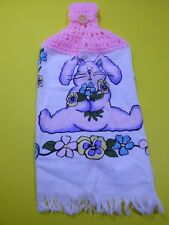 Vintage Hand Towel Cecil Saydeh Bunny Pink Crochet Top Cotton RN16716 Taiwan