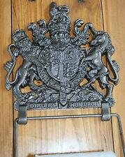 ENGLISH CREST WC Portarotolo (Lion UNICORNO) cappotto delle armi ARALDICA GHISA