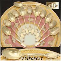 Antique French PUIFORCAT 18k Gold on Sterling Silver 12pc Demitasse Teaspoon Set