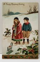 Christmas Greeting Children Doll Pull Horse Toy Embossed Germany Postcard B11