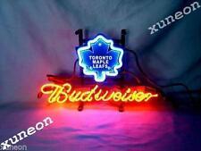RARE Budweiser Bud NHL TORONTO MAPLE LEAFS Hockey Neon Sign Beer Bar Pub Light