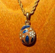 Colgante Huevo Ruso Collar Marrón Oro Esmalte CRISTALES SWAROVSKY flowers blue