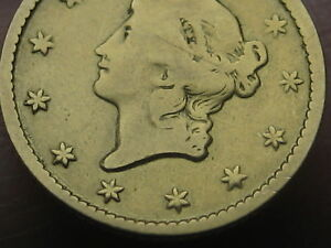 1849 $1 Gold Liberty Head One Dollar Coin- Open Wreath, With L