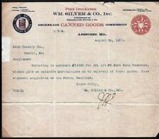 1911 Aberdeen Md - Wm Silver & Co history Canned Goods Vintage Letter Head Rare