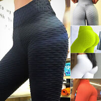 Ladies Ruched Push Up Leggings Yoga Pants Anti Cellulite Sports Scrunch Trouser