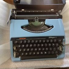 Vtg BROTHER Typewriter charger 11 Blue Steel w/case portable Japan CLEAN