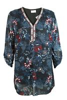 C&A Womens Dark Charcoal Floral Print Embroidered V Neck Long Line Tunic Top
