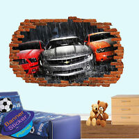MUSCLE SPORT CARS RAIN EPIC 3D SMASHED WALL STICKER ROOM DECORATION DECAL MURAL