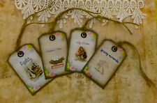 """Easter's Here_4pc shabby chic tag lot3. 2 x 3"""". Handmade. Craft, Scrapbook, card"""