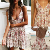Women Summer Boho Short Mini Dress Evening Cocktail Party Beach Dress Sundress