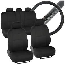 Black Full Set Deluxe Car Seat Covers w/ Rubber Sports Grip Steering Wheel Cover
