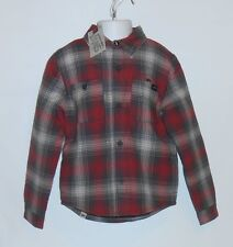 Vans Boys Plaid Long Sleeve Quilted Lining Shirt Jacket Tomato Small (S) NWT