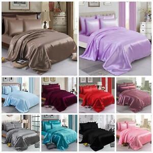 6 Piece Silk Satin Duvet Quilt Cover Bedding Set Fitted Sheet & 4 Pillow cases