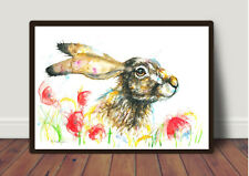 Hare and Poppies ,picture ,Watercolour ,Print ,Card, Gift,Wildlife,Animal,Art,