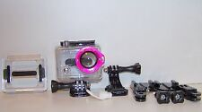 Genuine GoPro HERO 1 2  Waterproof Dive Case Housing with Pink lanyard lens ring