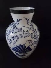Vtg c1920 Chinese Japanese Asian Oriental Glass Vase Blue Enamel Butterflys Fan