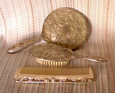 METAL 'BUTTERFLY' BRUSH, MIRROR & COMB set, retro, vintage, shabby chic