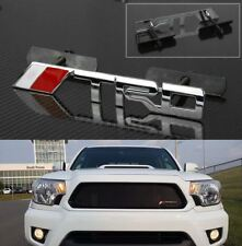"""Bolt on 5.7"""" x 0.8"""" TRD Chrome Red Grill Mesh Grille Emblem Logo Decal Badge"""