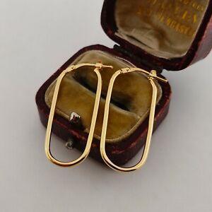 9ct Yellow Gold Large Fancy Oval Hoop Creole Dangle Earrings Ladies | Girls 375