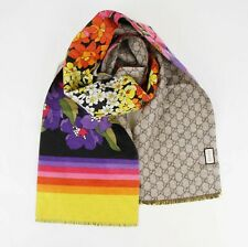 Gucci Brown GG Silk/Cashmere Long Scarf with Flower Rainbow Print 523748 1088