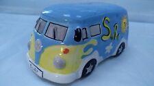 Volkswagen Camper Van Ceramic Money Box Piggy Bank Light Blue Surf Sun Flowers