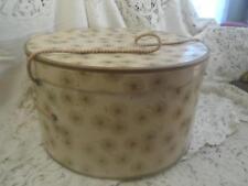 Vintage Round CardBoard w/Braided Rope Handle Gold Atomic Flower & Dots Hat Box