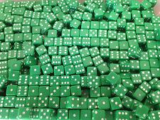 20 x 7mm Opaque Green Six Sided spot Dice Games D6 D&D RPG