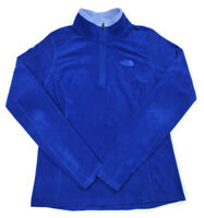 The North Face Womens S/P Pullover LS 1/4 Zip Fleece Sweater Jacket Blue Petite