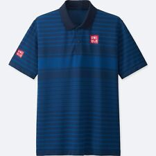 UNIQLO x Kei Nishikori 2017 French Open DRY-EX Polo Shirt S Blue Stripe **NWT**