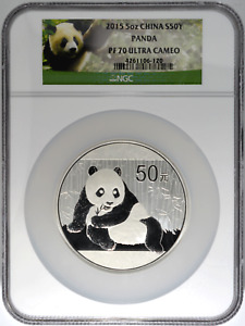 China Silver Panda 5 oz 2015 50 Yuan NGC PF 70 Ultra Cameo Certified Coin .999