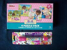 2 Pc Set Disney's Doc McStuffins 4 Puzzle Pack & Lisa Frank Flashligt Pen NEW