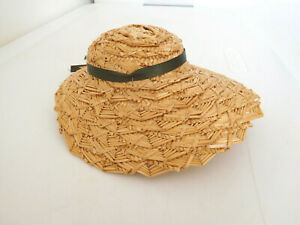 """Vintage Natural Color Woven Straw Doll Hat for 10"""" Circumference Head"""