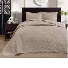 BEAUTIFUL XXL OVERSIZE TAN BEIGE BROWN TAUPE TEXTURE VINTAGE BEDSPREAD SET KING