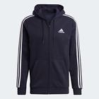 Adidas Mens Essentials Fleece 3 Stripes Hoodie Navy